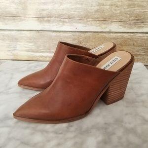 1e1527fd6a5 Steve Madden Shoes - Steve Madden Savina Cognac Heel Mule Slip On 7